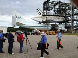 Space Shuttle Endeavour was loaded onto the back of a Boeing 747 at Kennedy Space Center on Friday.