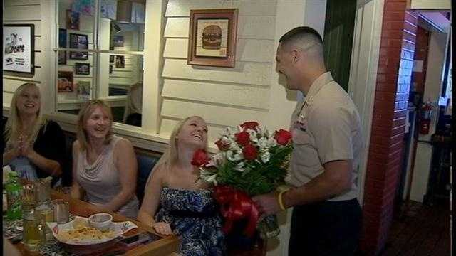 Andres Garcia made his girlfriend's birthday a bit brighter by coming home two weeks early.