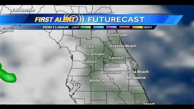 Storms are expected Monday in Central Florida. See an hour-by-hour look.