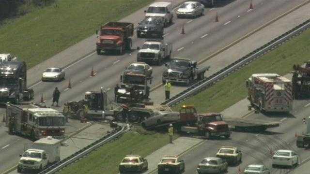 The north and southbound lanes of Interstate 95 were blocked in Brevard County on Tuesday because of an accident.