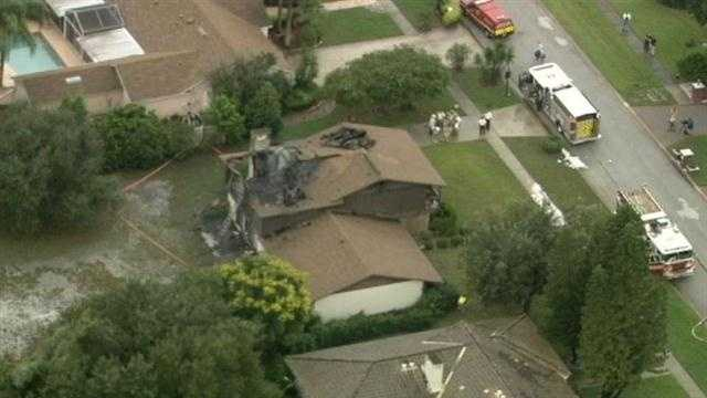 A Bay Hill home suffered serious damage from a possible lightning strike Tuesday.