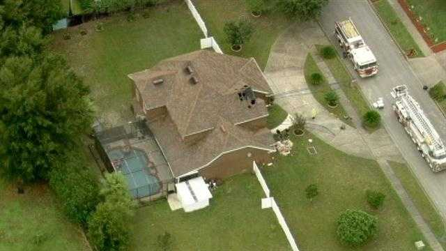 This home in Orlando was also damaged by lightning Tuesday.