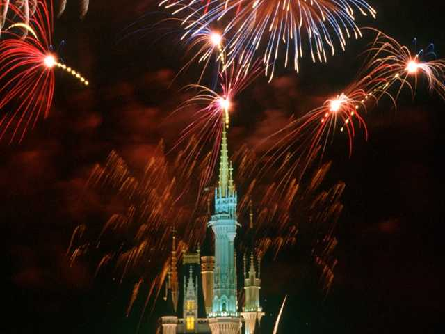 Marc says he likes to watch fireworks from behind Cinderella's castle.