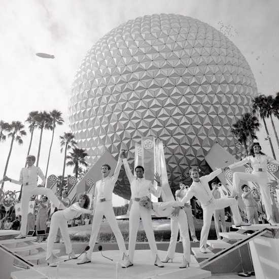 "Construction on the park began in 1979.  The dedication plaque for Epcot reads, ""May Epcot Center entertain, inform and inspire."""