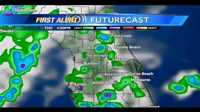 See an hour-by-hour view at storms expected in Central Florida tonight.