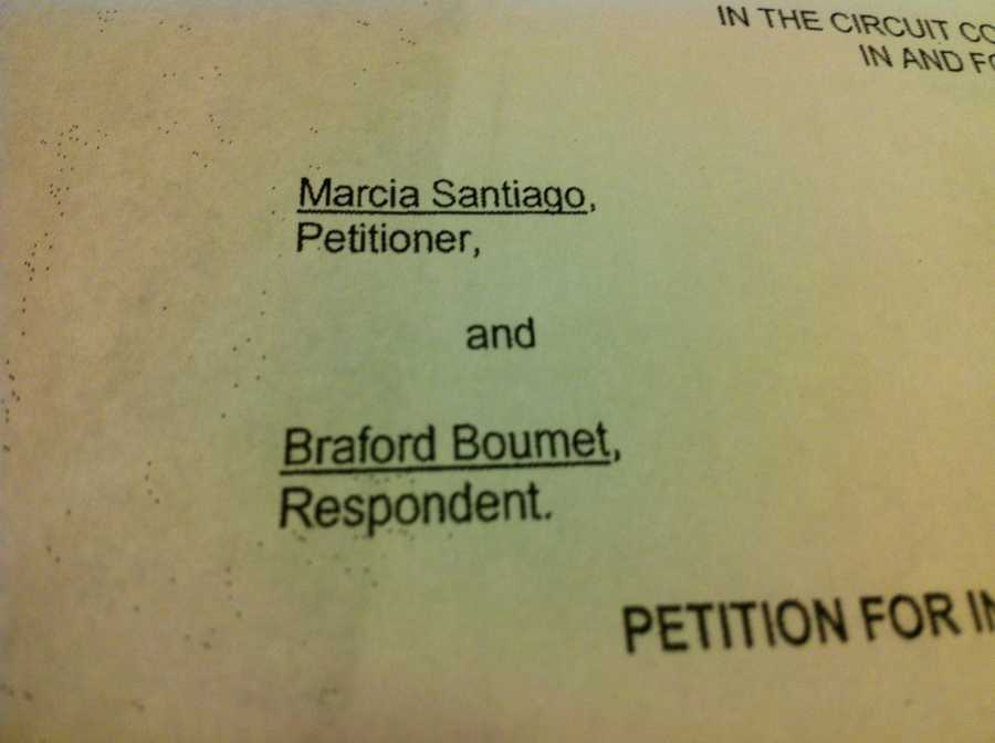 A woman by the name of Marcia Santiago filed a temporary injunction against her ex-boyfriend, Bradford Baumet, on Oct. 5.