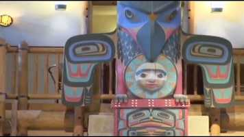 The lobby's twin 55-foot totem poles are named for the animal that sits on the very top -- the raven and the eagle.