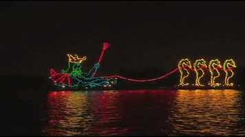 The Electrical Water Parade, which debuted in 1971, makes it way right by the lodge.