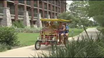 Guests can bring their own bikes, rent a bike or grab some friends and hop on a multi-person bike, and travel around the 3 1/4 mile path to Disney's Fort Wilderness Resort.