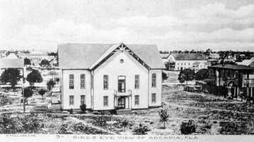 Arcadia (DeSoto County): The Rev. James Hendry named the town in honor of Arcadia Albritton, a daughter of pioneer settlers who baked him a cake for his birthday. He appreciated it so much he named the city after her. Arcadia is shown in the picture in 1905.