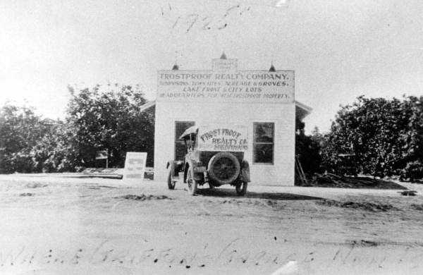 Frostproof (Polk County): It was named by cowboys who brought cattle to the region during the winter months to get away from frost.  The picture is of a realty company in 1925.