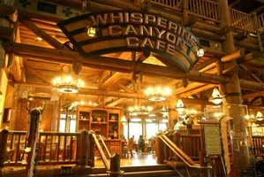 Family-style, family-friendly dining is an option within the lodge at the Whispering Canyon Cafe.