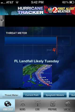 When you load the app, you'll see the Threat Meter, which shows you the tropical weather risk. The Threat Meter is now more detailed.