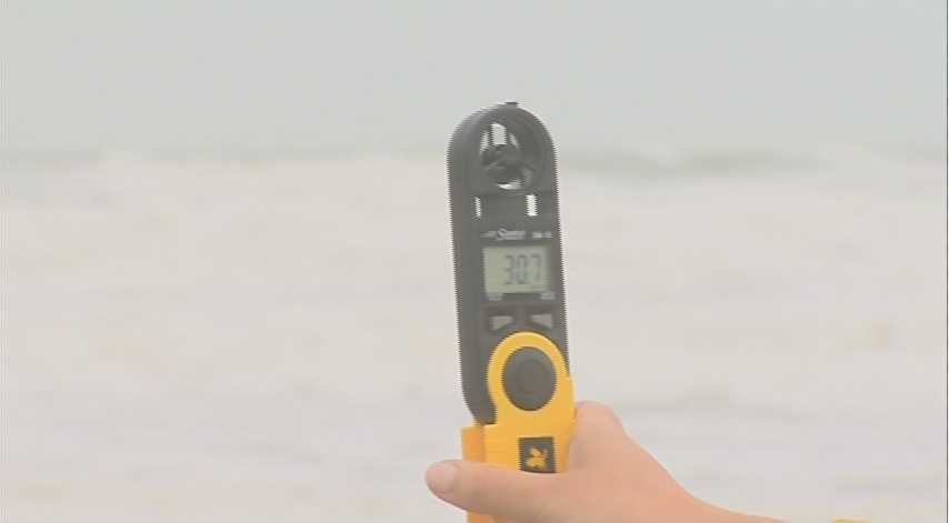 Using the anemometer on Cocoa Beach.