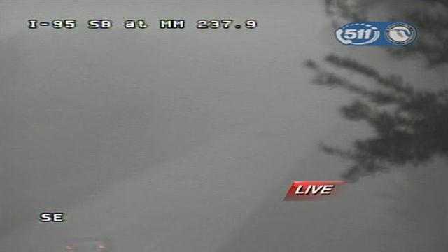 Heavy rain on I-95 as a squall moves through.