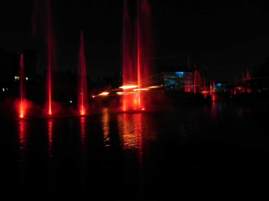Lights and lasers take over the nightly centennial show and Optimus Prime beams in to deliver an important message.