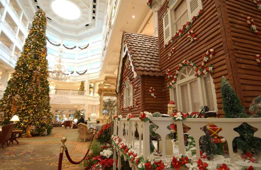 9. The gingerbread house at Disney's Grand Floridian Resort & Spa.  The scent of gingerbread will fill the lobby of Disney's Grand Floridian Resort & Spa during the holidays.  Pastry chefs will create the 16-foot-high Victorian house with 1,050 pounds of honey, 600 pounds of powered sugar, 800 pounds of flour, 140 pints of egg whites and 180 pounds of apricot glaze.