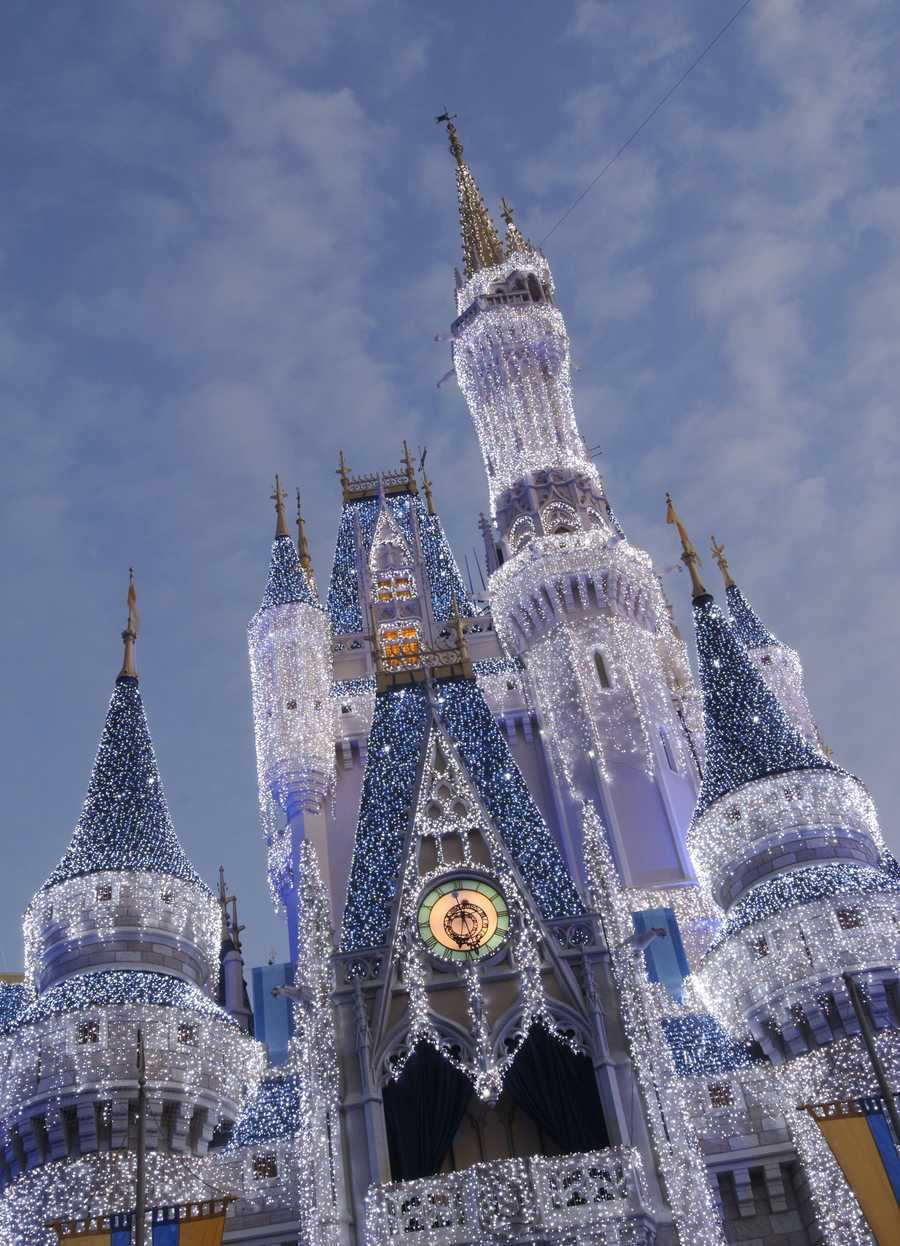 3. Cinderella's Castle transforms into an ice palace for the holidays.  Guests to the Magic Kingdom will be treated to a nightly castle celebration and stage show.