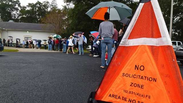 Voting line in Orange County, Fla
