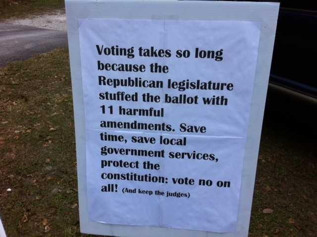 This sign was posted outside a DeLand precinct.