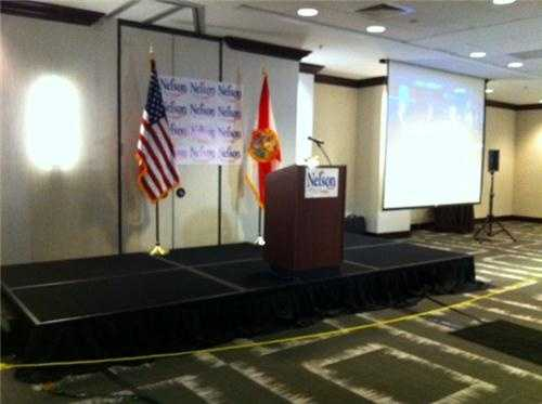 The stage is set for Sen. Bill Nelson. He'll likely speak at 8:45 p.m.