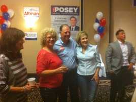 US Rep. Bill Posey (R-Florida) poses with supporters on election night in Viera, Brevard County.