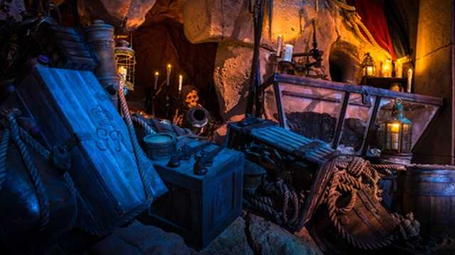 The eerie lost grotto at the new Pirates of the Caribbean: The Legend of Captain Jack Sparrow attraction.