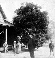A family stands outside their Orange City home in 1890.