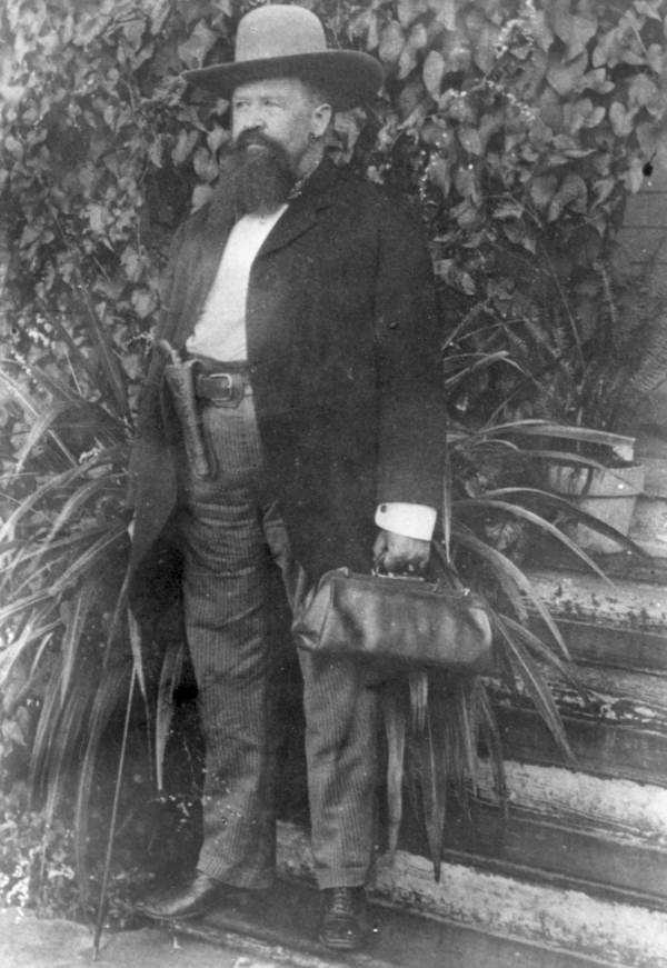 Known as the pistol-packing doctor of Tampa, Hiram Hampton, is captured on film in the early 1900s.