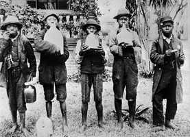 During the 1880s a jug and harmonica band posed for the camera.