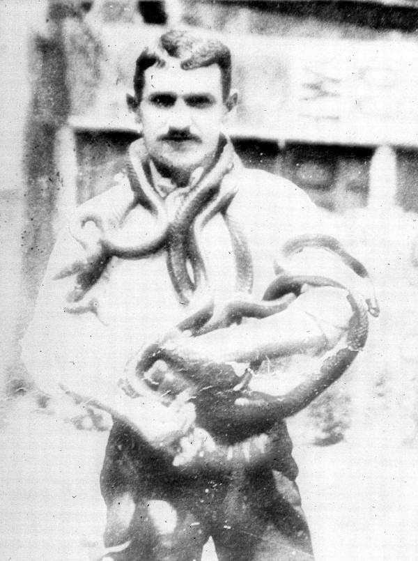 In the 1880s, a snake charmer showed off his collection.