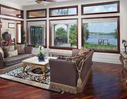 Home overlooks a beautiful lake.