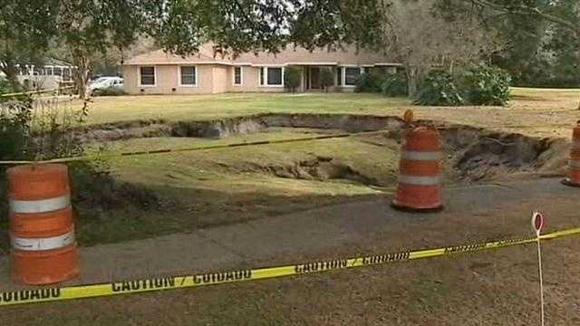 Sinkhole opens up near Winderemre home