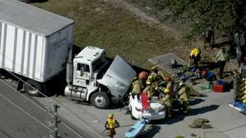 A tractor-trailer and car were involved in an accident near Central Florida Parkway Wednesday.