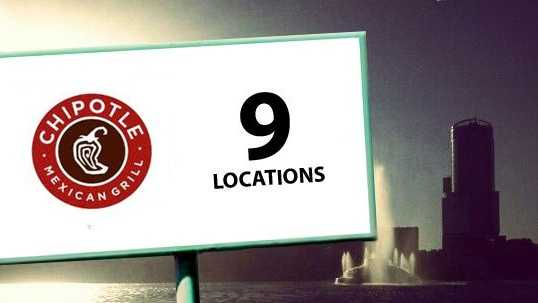 Chipotle burritos are made at 9 Orlando locations.