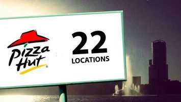The biggest pizza franchise in town, Pizza Hut boasts 22 restaurants.