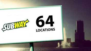 Subway weighs in with the most restaurant locations in the Orlando area with 64 sandwich shops.