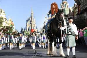 """With hundreds of young performers joining the ensemble, Princess Merida -- from the Disney-Pixar hit film """"Brave"""" -- sits atop her horse """"Angus"""" during a break in taping the """"Disney Parks Christmas Day Parade""""."""