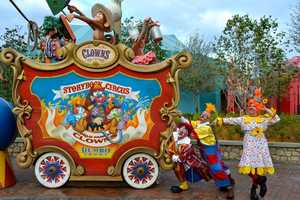 Boss clown Chuckles Buffoon McMonkeyshine III and his protégés, Whinny Horselaugh and Snort engage in circus shenanigans throughout the Storybook Circus area.