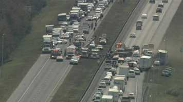 The northbound and southbound sides of Florida's Turnpike were shut down in Osceola County for a crash Wednesday.