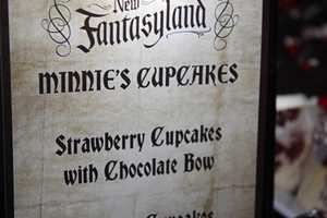 Minnie's cupcakes were strawberry cupcakes with a chocolate bow.