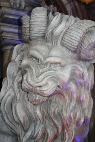 """The lion-like figures at the entrance of the Be Our Guest restaurant were referred to as """"golions"""" by the design team which is a combination of a goat and lion."""