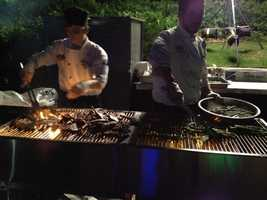 Chefs grilled up food for guests at the Test Track party.