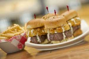 Classic hamburgers made with Splitsville's special blend of certified angus brisket, short rib and ground chuck are available.
