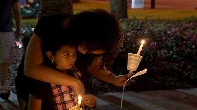 An emotional vigil was held in Downtown Orlando to remember the victims of the shooting in Connecticut.