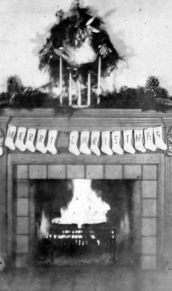 1941: A Tallahassee home's mantel decorated for Christmas.