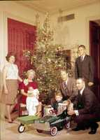 1966: Florida Gov. Haydon Burns and his family sit around the Christmas tree at the governor's mansion.