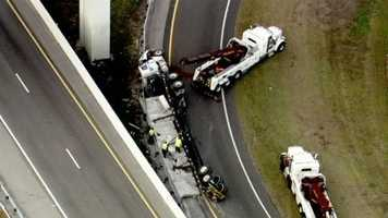 An exit ramp from Interstate 4 eastbound is closed because of a tractor-trailer crash.