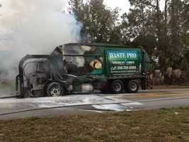 A garbage truck in Daytona Beach was gutted by fire Tuesday morning.