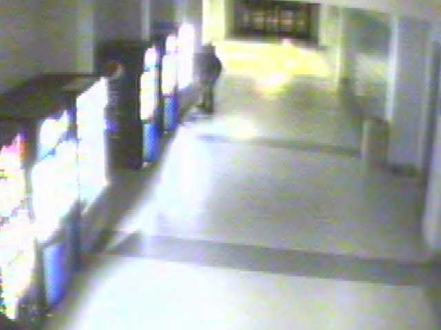 The burglars are seen knocking over a soda machine in these surveillance photos.